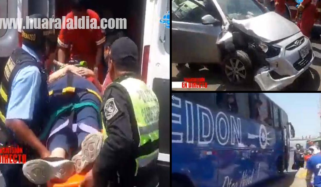 Bus Poseidón y auto familiar chocan en el cruce de Chancay dejando 3 personas heridas [VIDEO]