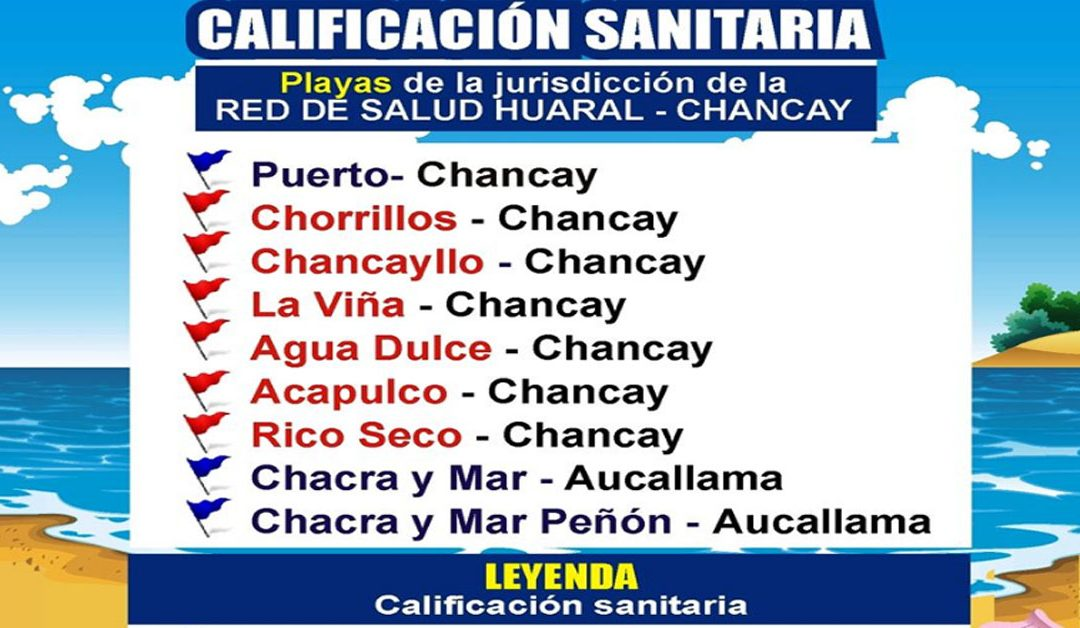 Calificación sanitaria de Playas de los distritos de Chancay y Aucallama